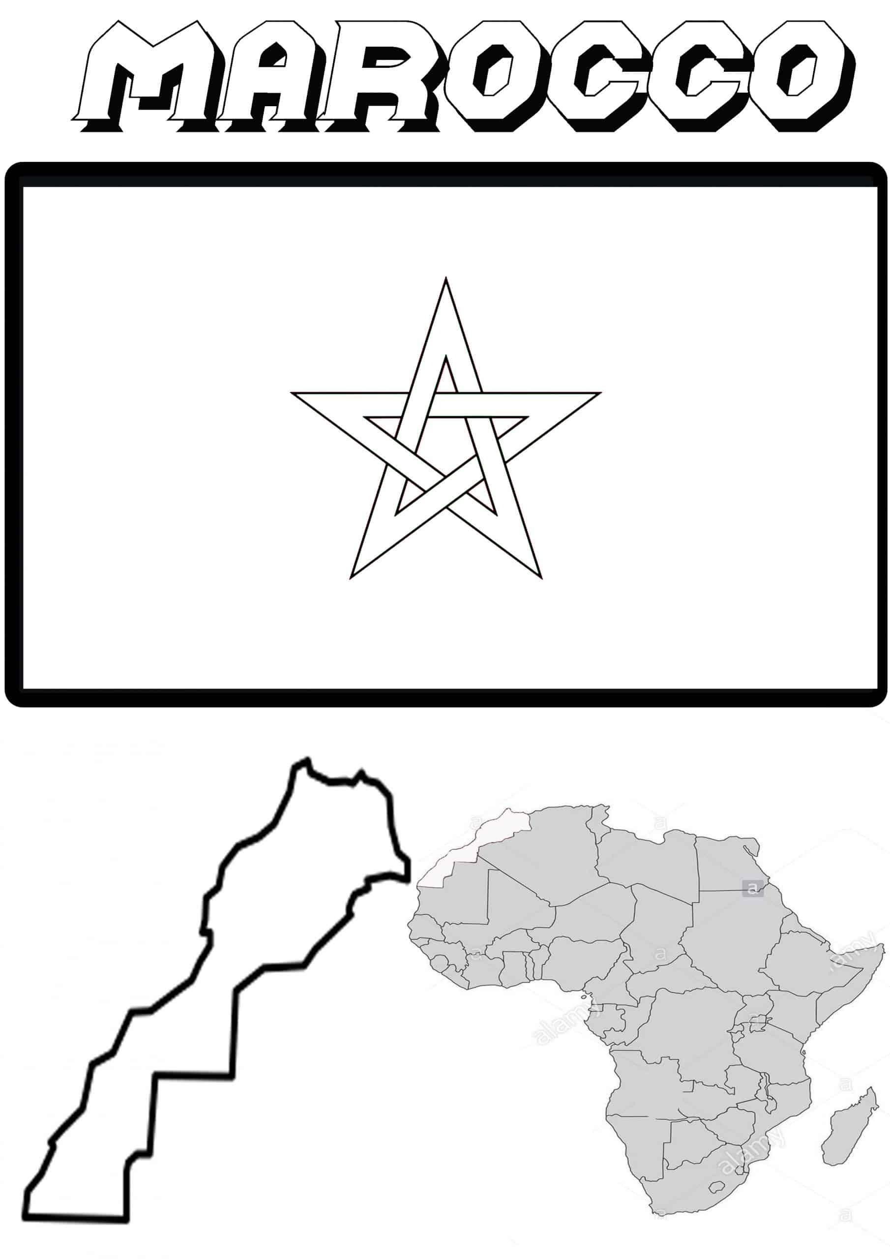Cartina Marocco Da Colorare.Bandiera E Cartina Del Marocco Da Colorare